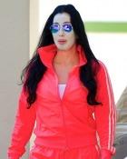 Cher, cu masca pentru ten pe strada