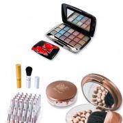 Pachet Ruby Rose Perle bronzante HB 2069 + Pensula retractabila HB 015 + Ruj HB 8681 (2 in 1) + CADOU: trusa machiaj HB 318